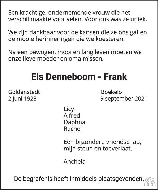 Overlijdensbericht van Els Denneboom-Frank in Tubantia