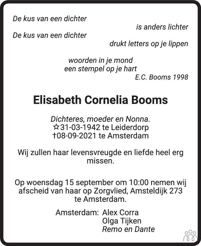 Overlijdensbericht van Elisabeth Cornelia Booms in Het Parool