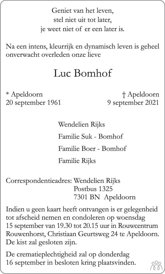 Overlijdensbericht van Luc Bomhof in de Stentor