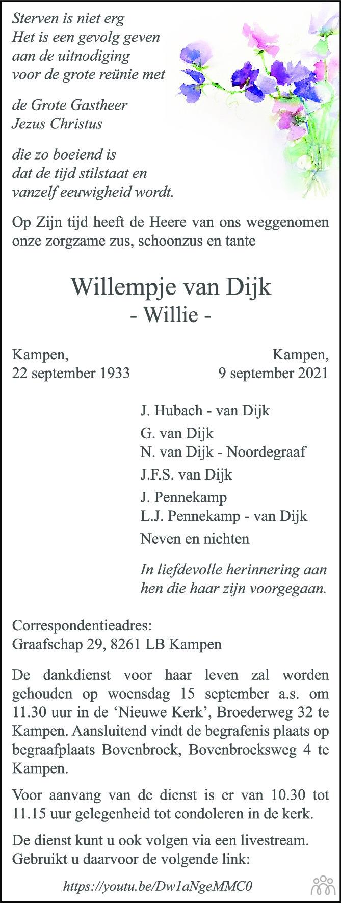 Overlijdensbericht van Willempje (Willie) van Dijk in de Stentor
