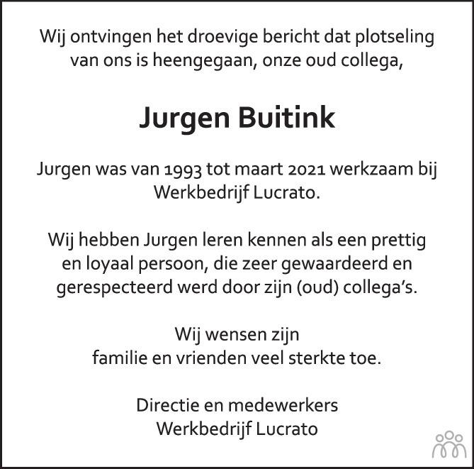 Overlijdensbericht van Jurgen Buitink in de Stentor