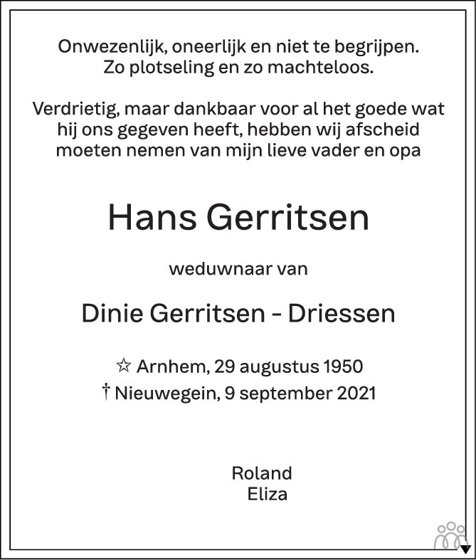 Overlijdensbericht van Hans Gerritsen in de Gelderlander