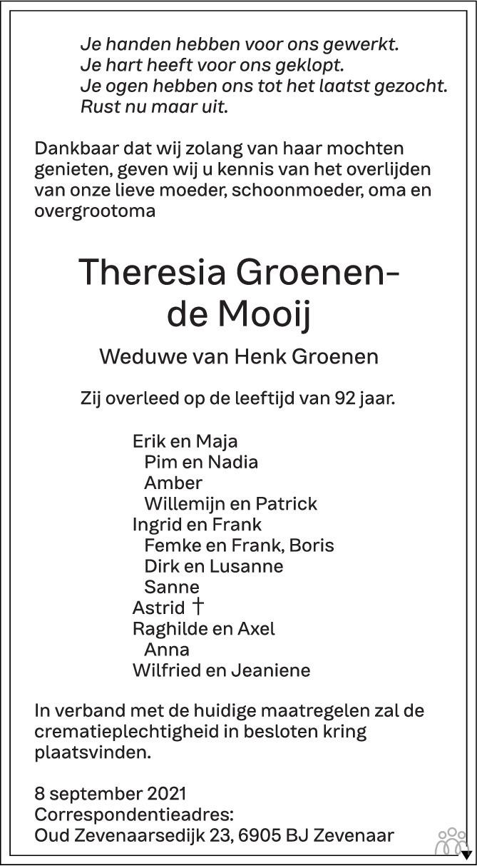 Overlijdensbericht van Theresia Groenen-de Mooij in de Gelderlander