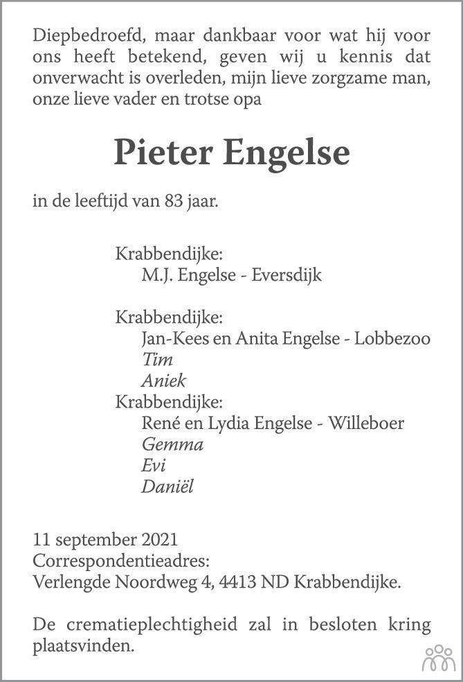 Overlijdensbericht van Pieter Engelse in PZC Provinciale Zeeuwse Courant