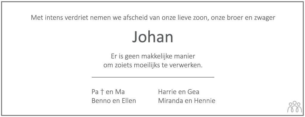 Overlijdensbericht van Johan Tijdhof in Tubantia