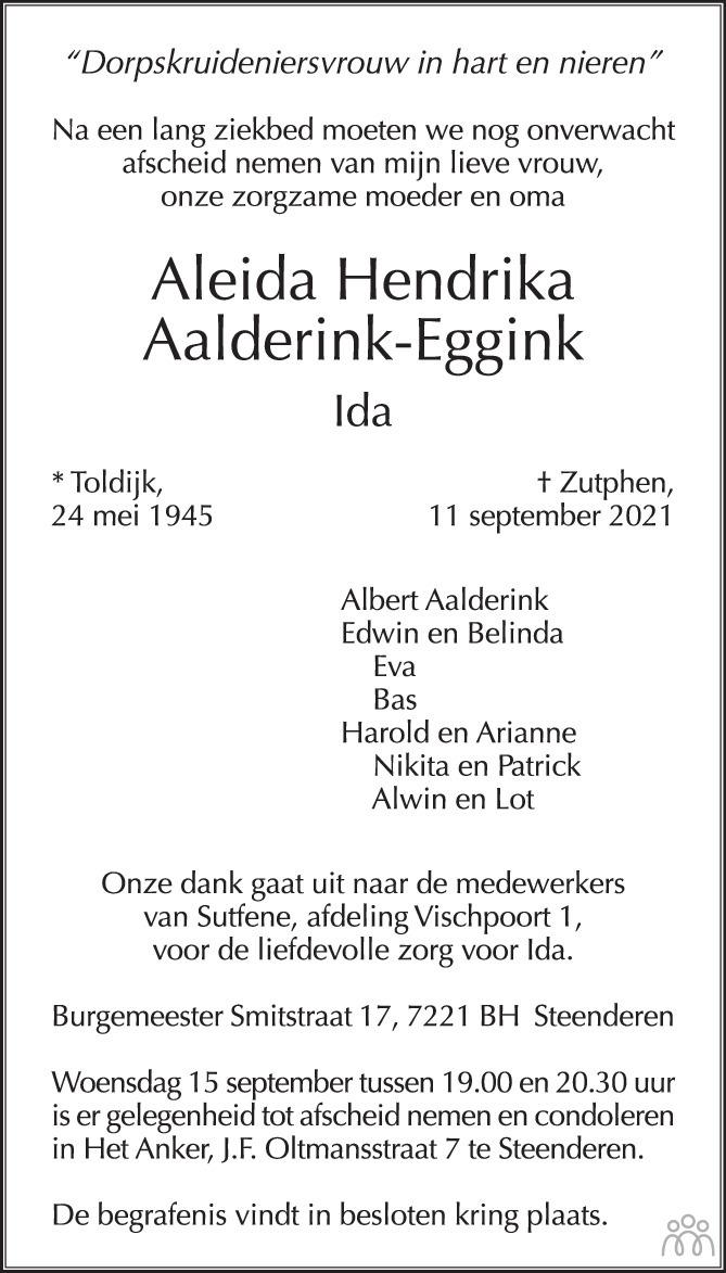 Overlijdensbericht van Aleida Hendrika (Ida) Aalderink-Eggink in de Gelderlander