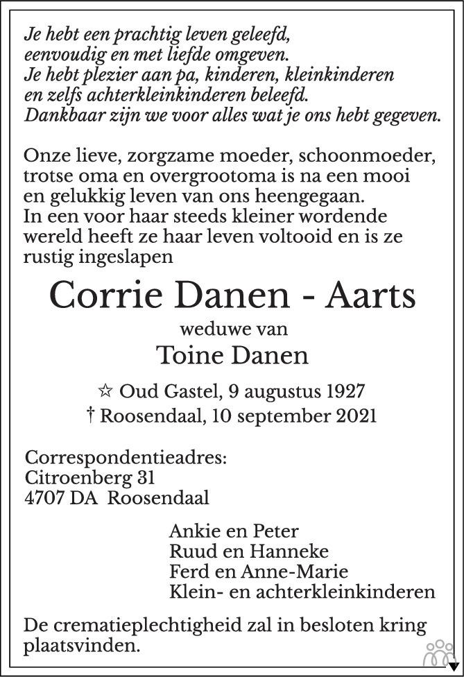 Overlijdensbericht van Corrie Danen-Aarts in BN DeStem