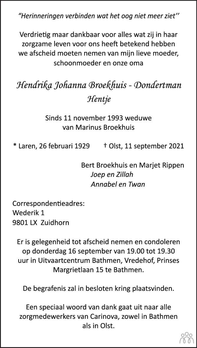 Overlijdensbericht van Hendrika Johanna (Hentje) Broekhuis-Dondertman in de Stentor
