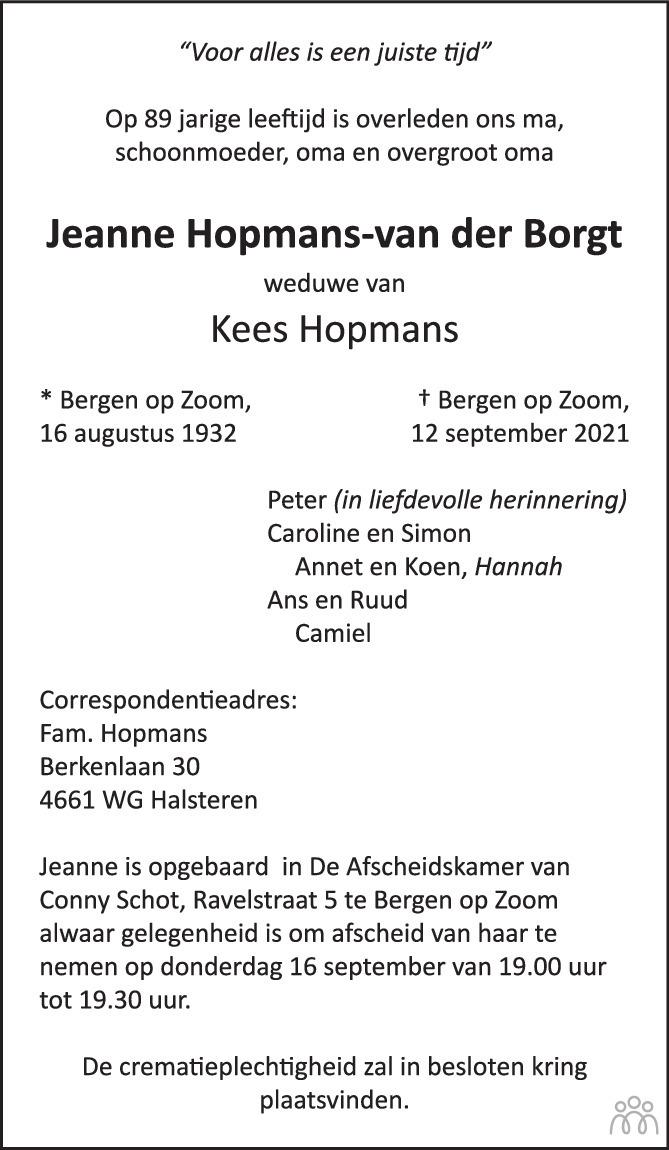 Overlijdensbericht van Jeanne Hopmans-van der Borgt in BN DeStem