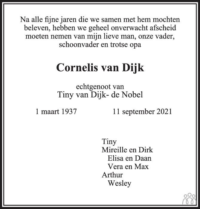 Overlijdensbericht van Cornelis van Dijk in de Gelderlander