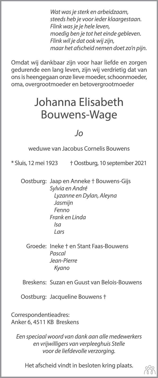 Overlijdensbericht van Johanna Elisabeth (Jo) Bouwens-Wage in PZC Provinciale Zeeuwse Courant