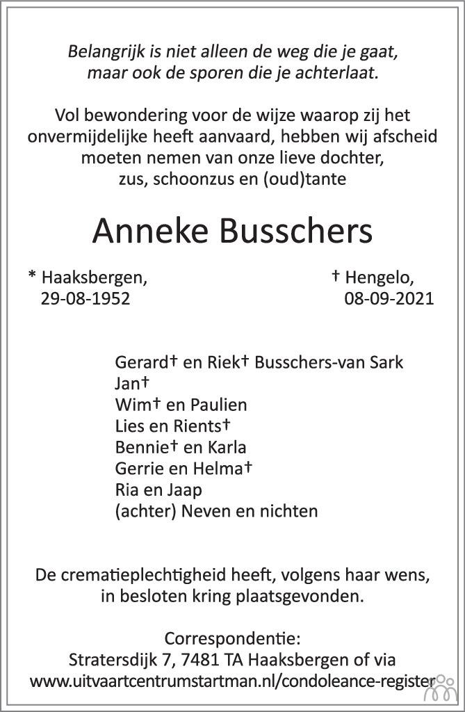 Overlijdensbericht van Anneke Busschers in Tubantia