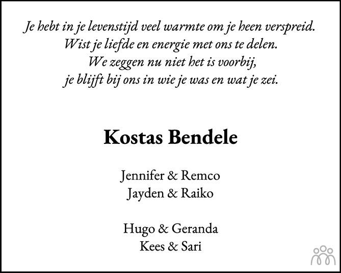 Overlijdensbericht van Ken Kenan Kostas Bendele in PZC Provinciale Zeeuwse Courant