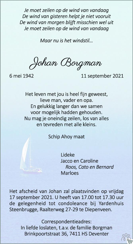 Overlijdensbericht van Johan Borgman in de Stentor