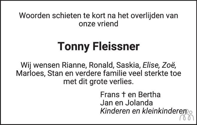 Overlijdensbericht van Tonny Fleissner in de Stentor