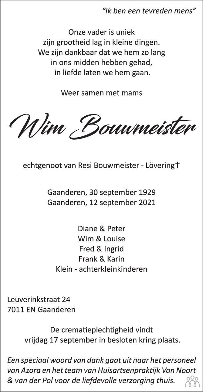Overlijdensbericht van Wim Bouwmeister in de Gelderlander
