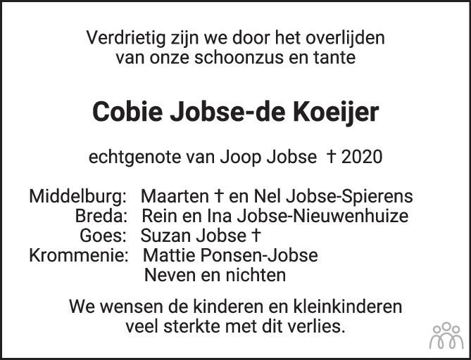 Overlijdensbericht van Cobie (Jacoba Marina) Jobse-de Koeijer in PZC Provinciale Zeeuwse Courant