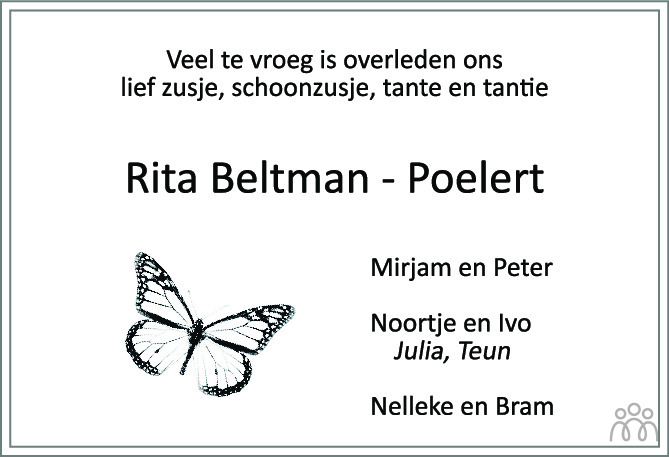 Overlijdensbericht van Rita Beltman-Poelert in Tubantia