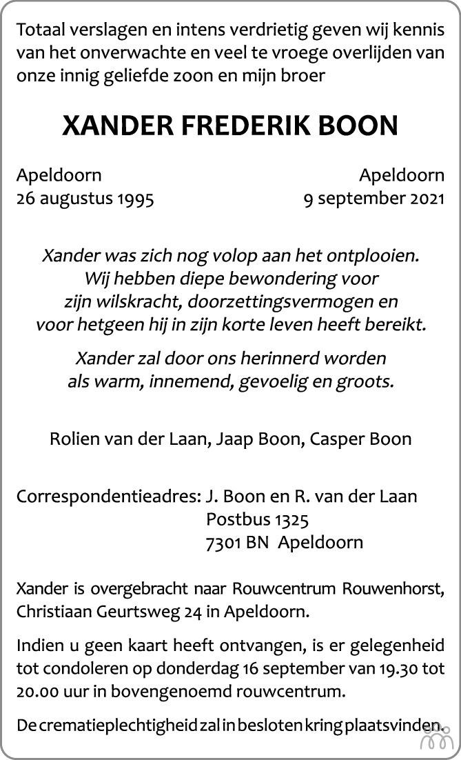 Overlijdensbericht van Xander Frederik Boon in de Stentor