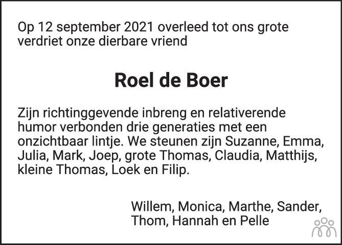 Overlijdensbericht van Roel (Roelf Willem) de Boer in de Volkskrant