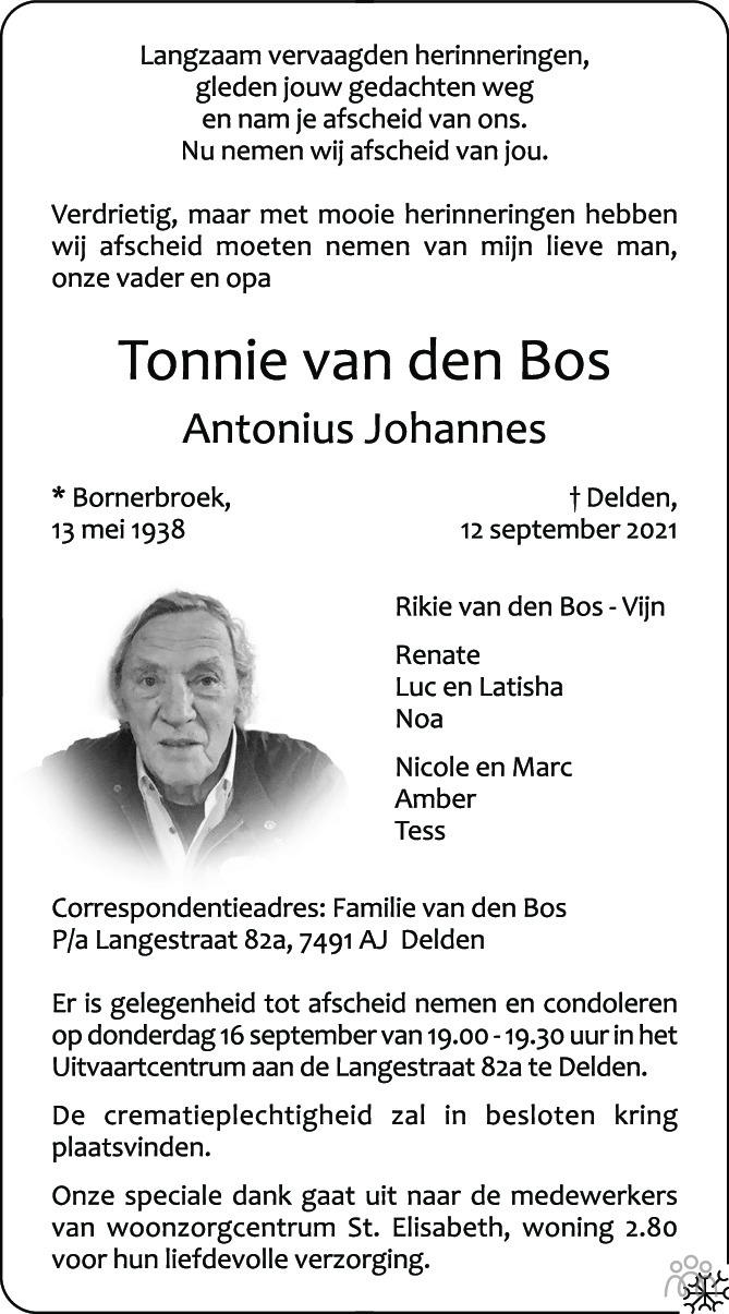 Overlijdensbericht van Tonnie (Antonius Johannes) van den Bos in Tubantia