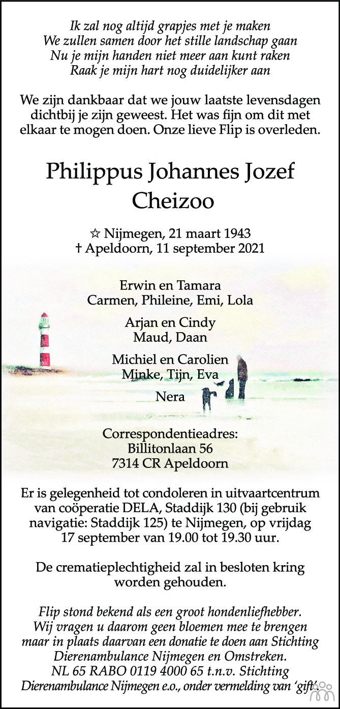 Overlijdensbericht van Philippus Johannes Jozef Cheizoo in de Gelderlander
