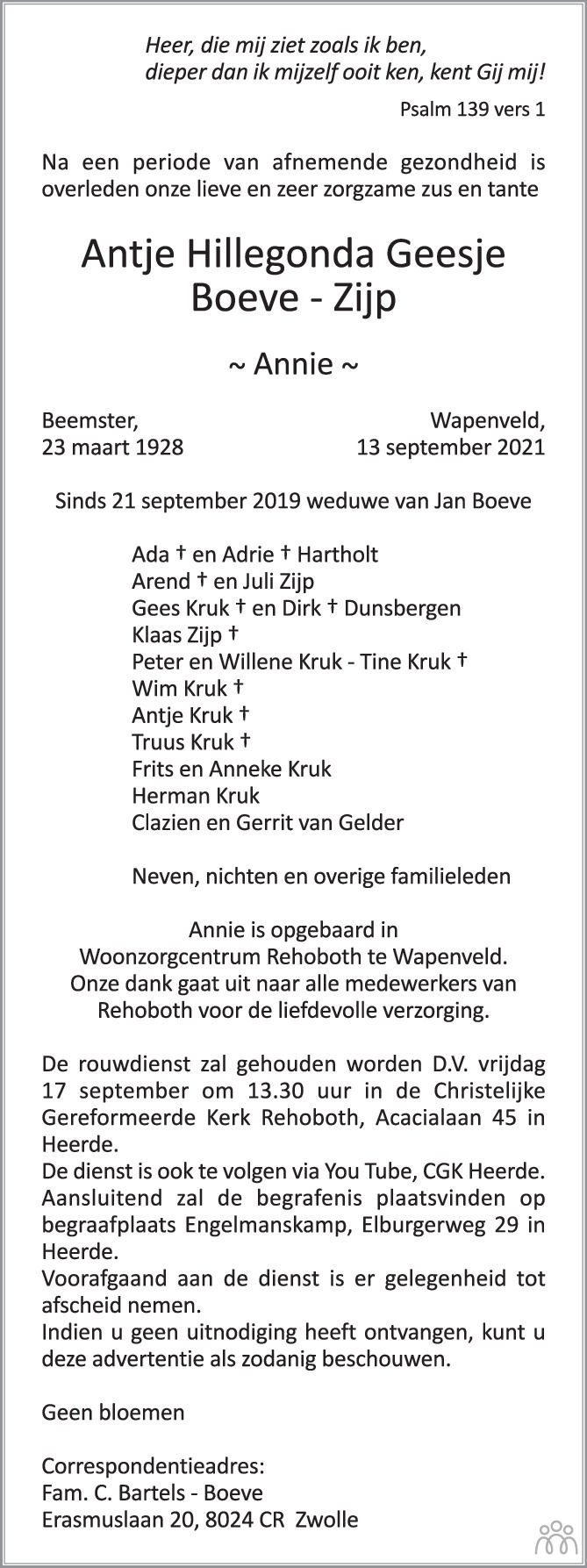 Overlijdensbericht van Antje Hillegonda Geesje (Annie) Boeve-Zijp in de Stentor
