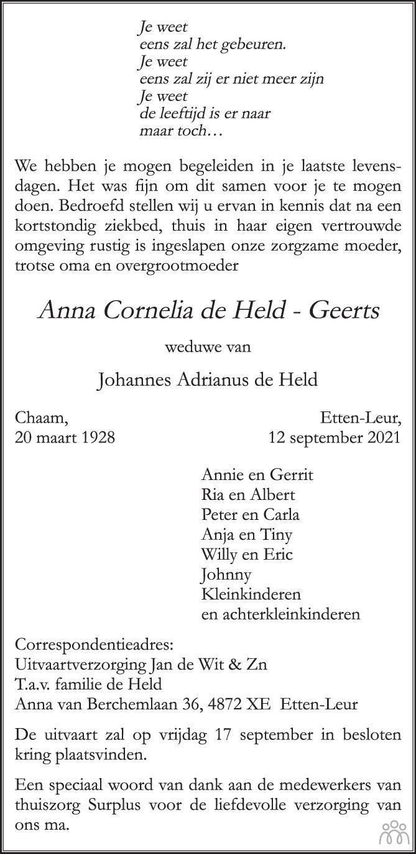 Overlijdensbericht van Anna Cornelia de Held-Geerts in BN DeStem