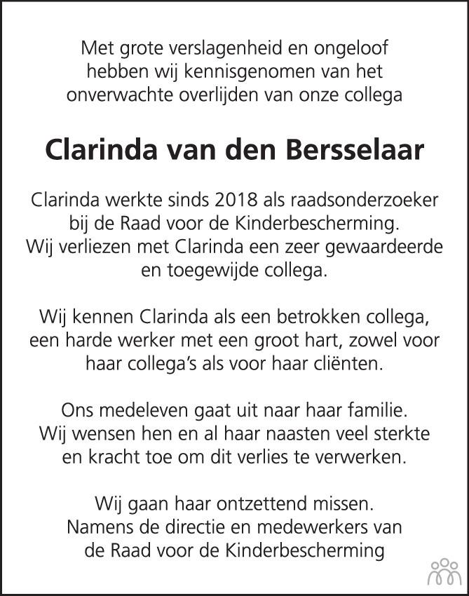Overlijdensbericht van Clarinda van den Bersselaar in Brabants Dagblad