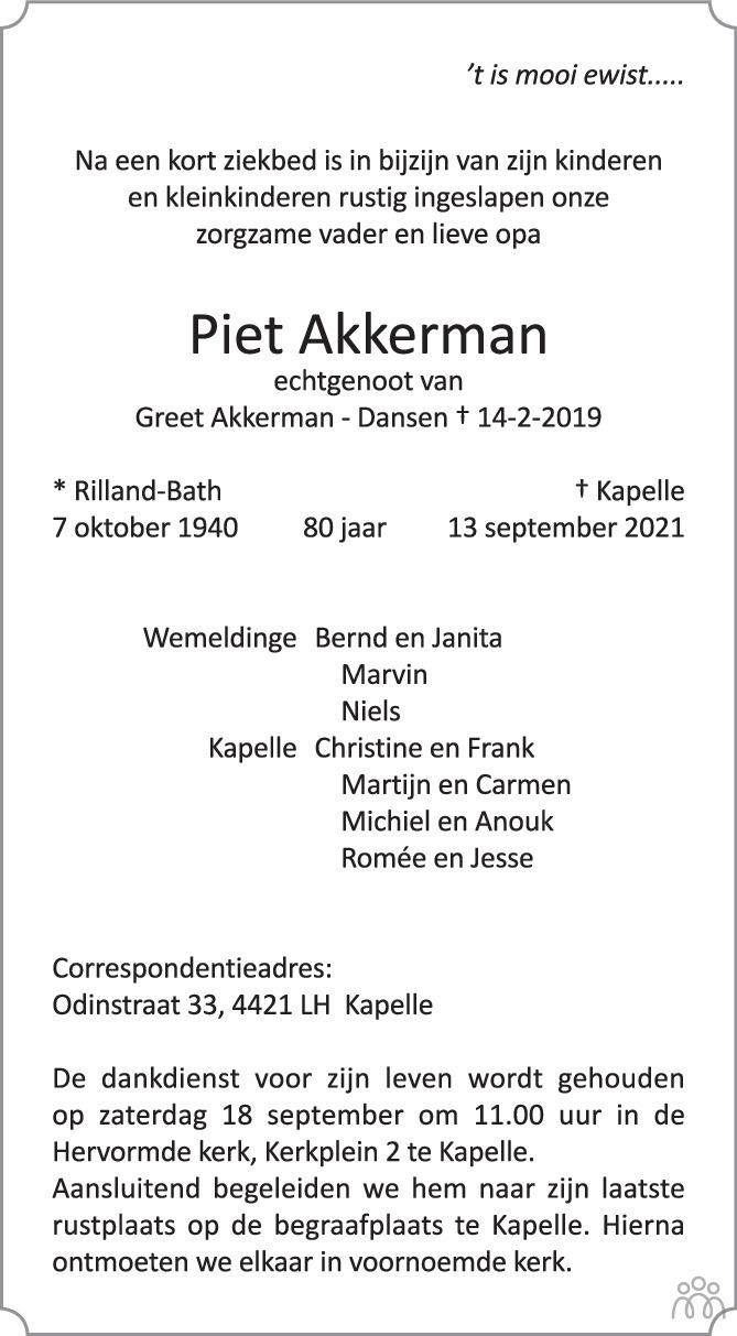 Overlijdensbericht van Piet Akkerman in PZC Provinciale Zeeuwse Courant
