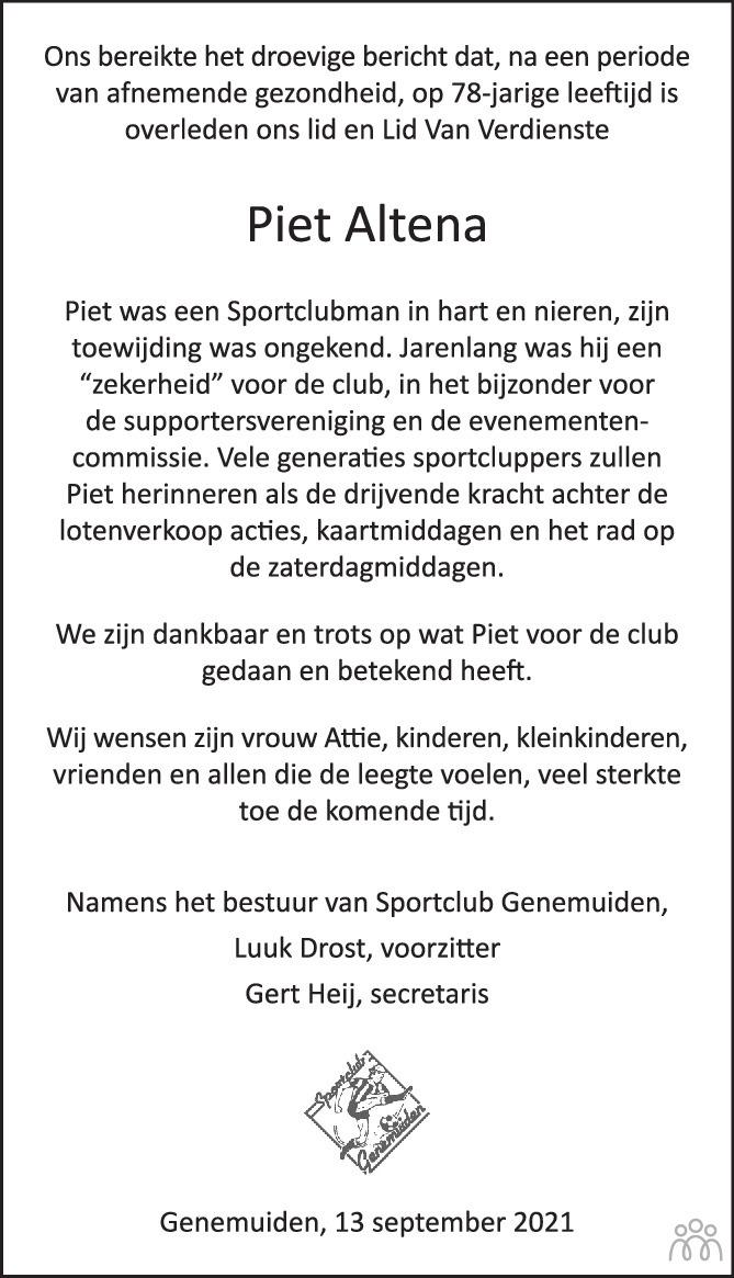 Overlijdensbericht van Piet Altena in de Stentor