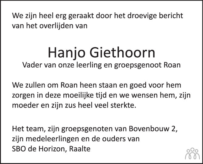 Overlijdensbericht van Hanjo Giethoorn in de Stentor