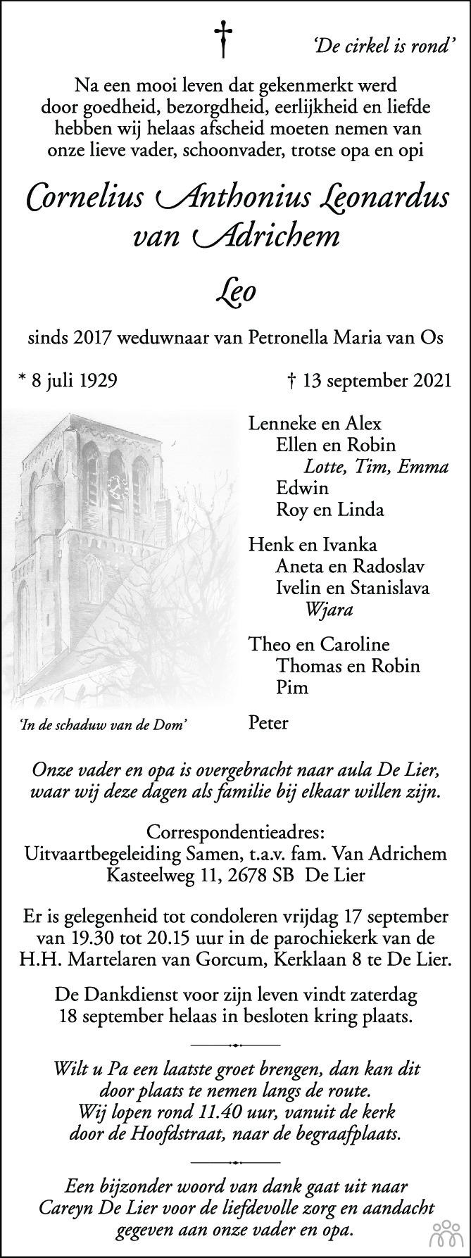 Overlijdensbericht van Cornelis Anthonius Leonardus (Leo) van Adrichem in AD Algemeen Dagblad