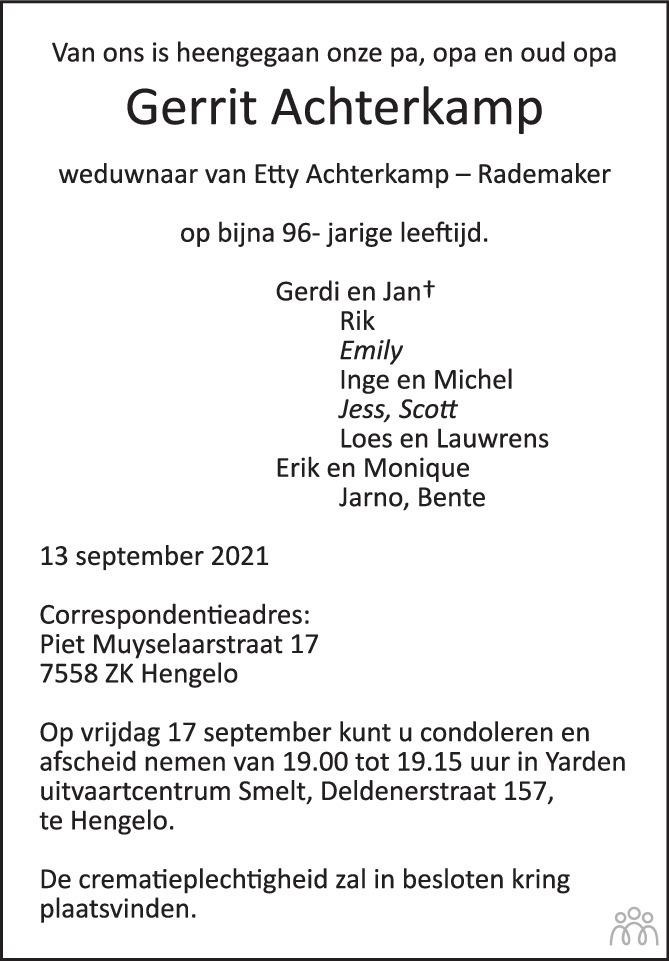 Overlijdensbericht van Gerrit Achterkamp in Tubantia