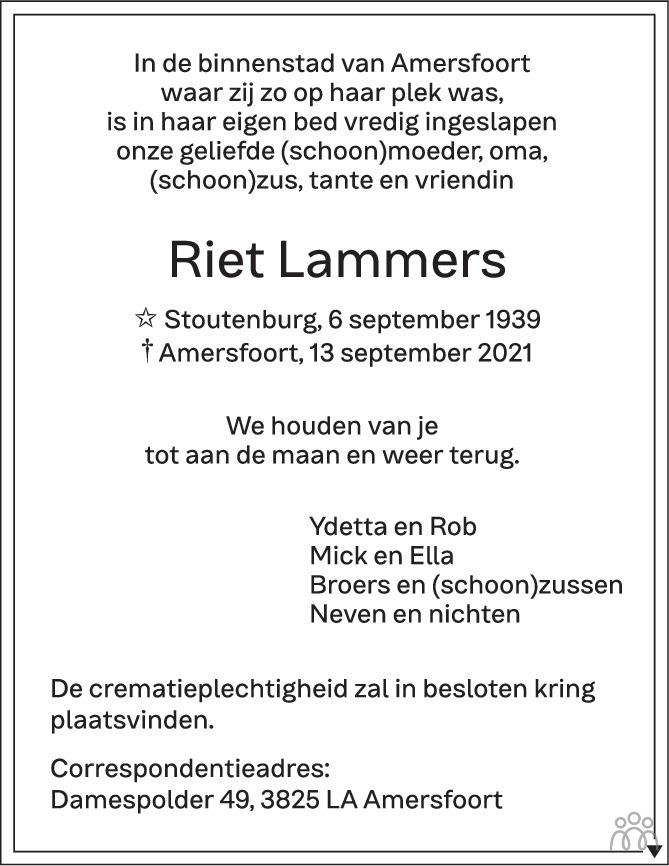 Overlijdensbericht van Riet Lammers in AD Algemeen Dagblad