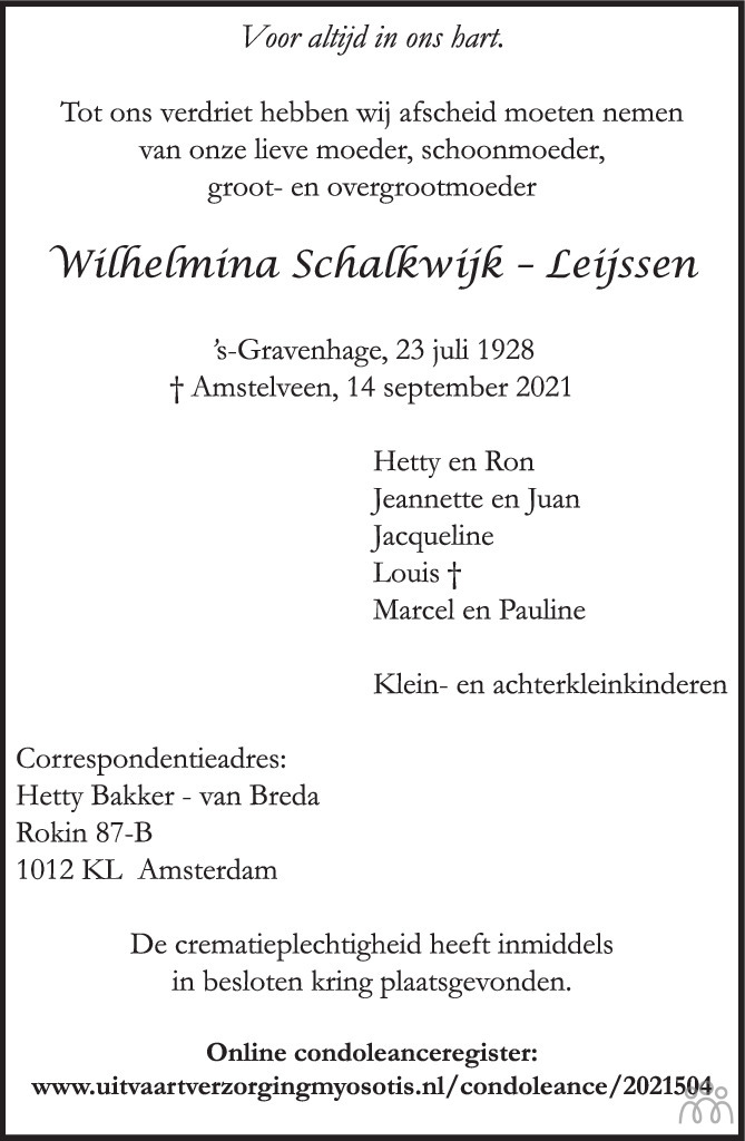 Overlijdensbericht van Wilhelmina Schalkwijk-Leijssen in Het Parool