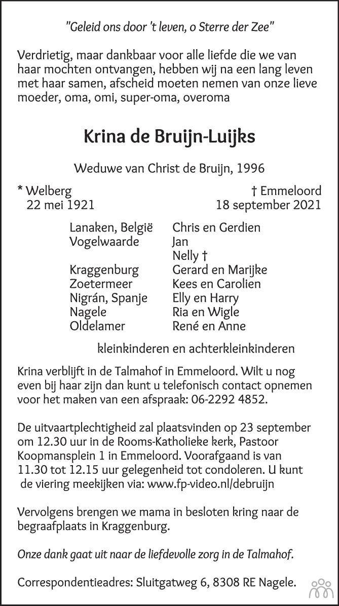 Overlijdensbericht van Krina de Bruijn-Luijks in de Stentor