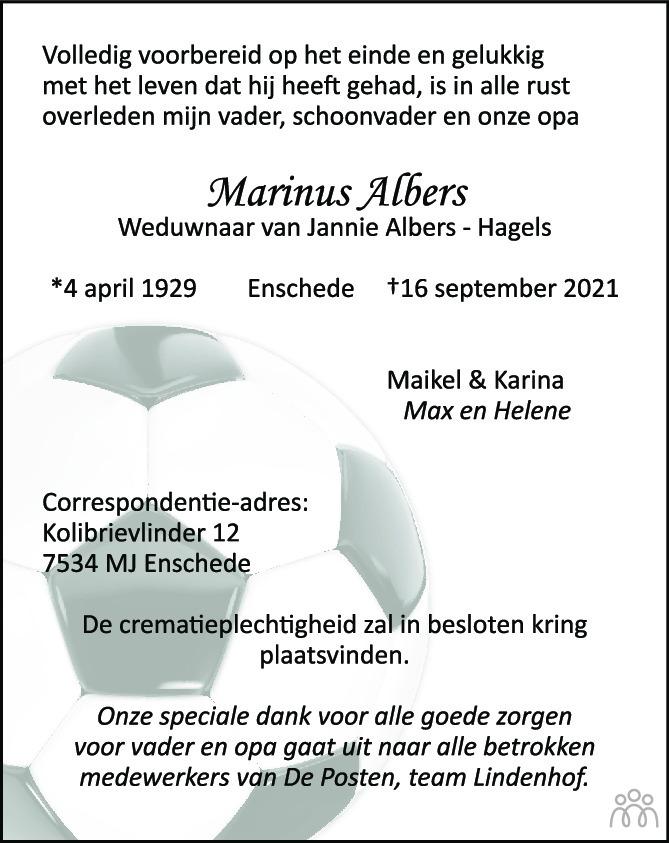 Overlijdensbericht van Marinus Albers in Tubantia