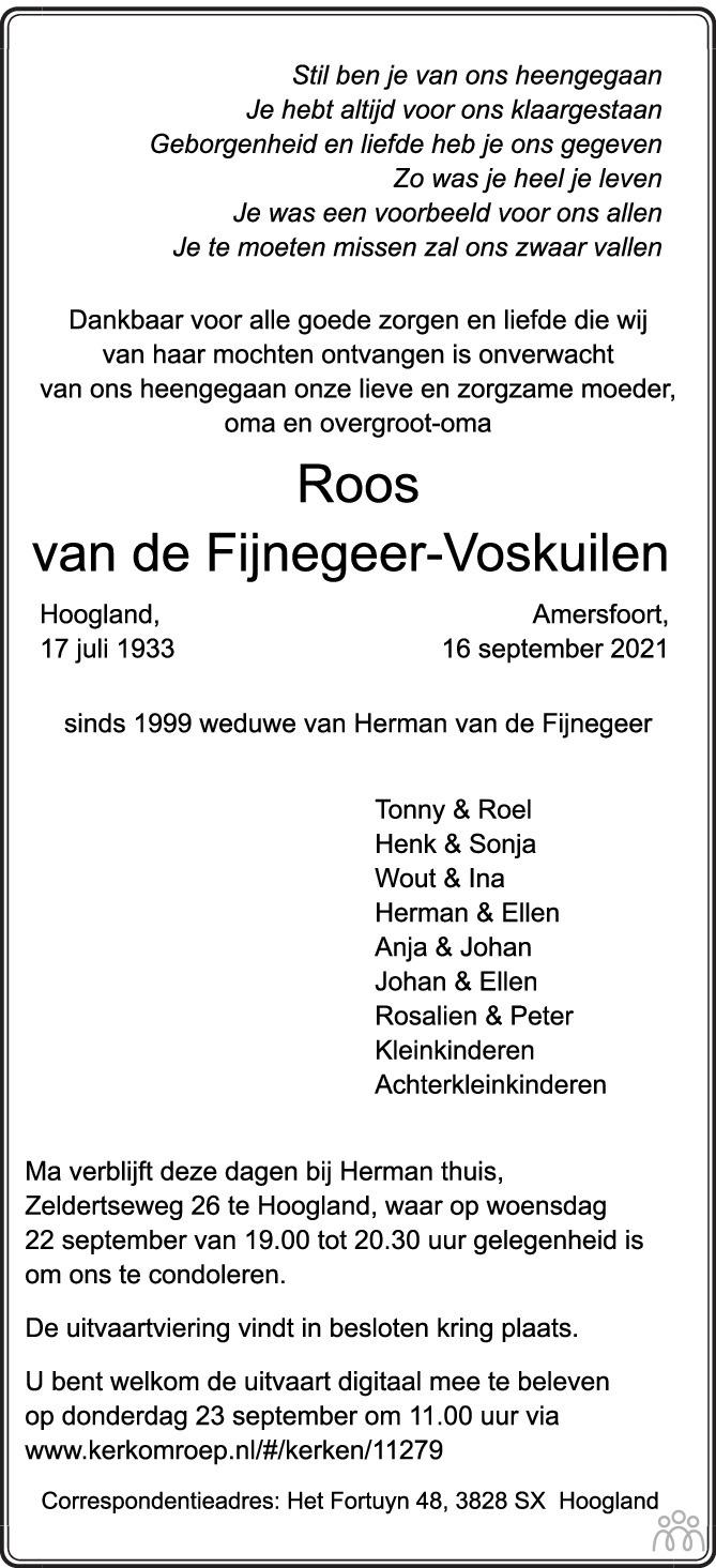 Overlijdensbericht van Roos van de Fijnegeer-Voskuilen in AD Algemeen Dagblad