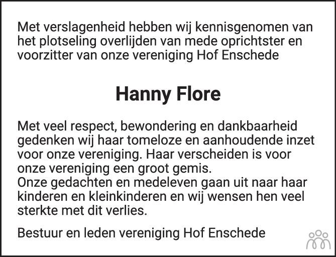 Overlijdensbericht van Hanny Flore in Tubantia