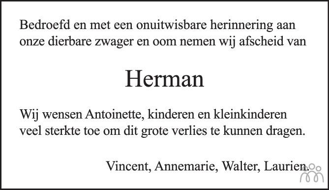 Overlijdensbericht van Herman Braakhuis in Tubantia