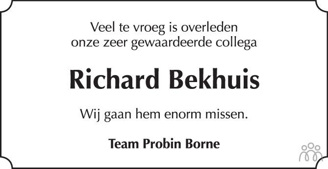 Overlijdensbericht van Richard Bekhuis in Tubantia