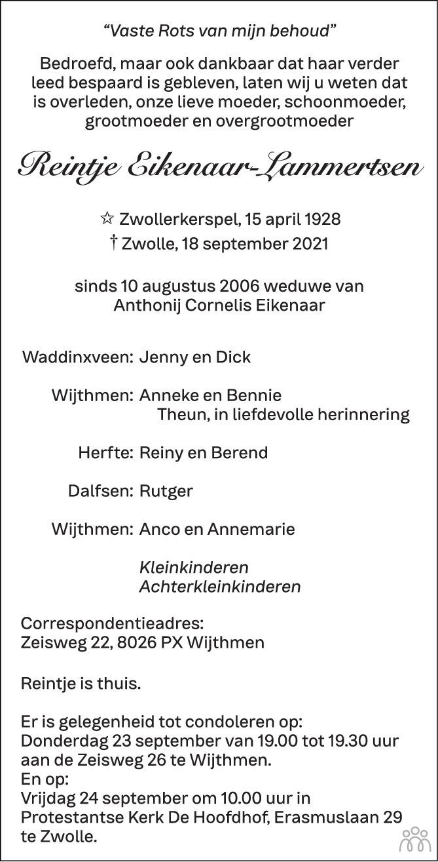 Overlijdensbericht van Reintje Eikenaar-Lammertsen in de Stentor