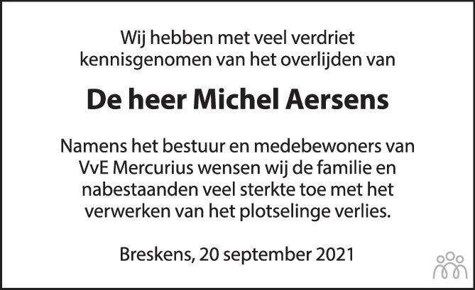 Overlijdensbericht van Michel Aersens in PZC Provinciale Zeeuwse Courant