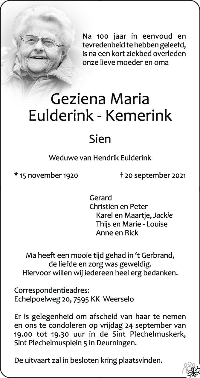 Overlijdensbericht van Geziena Maria (Sien) Eulderink-Kemerink in Tubantia