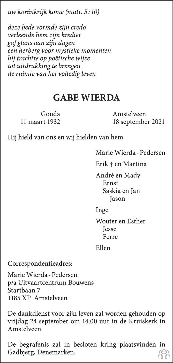 Overlijdensbericht van Gabe Wierda in Trouw