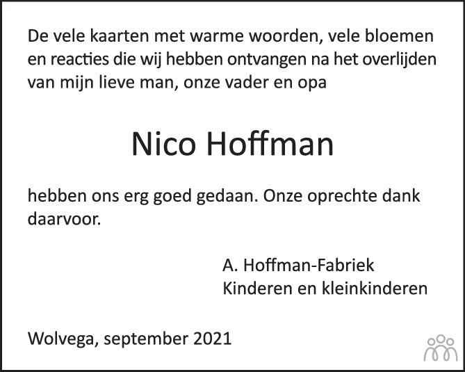 Overlijdensbericht van Nicolaas (Nico) Hoffman in de Stentor