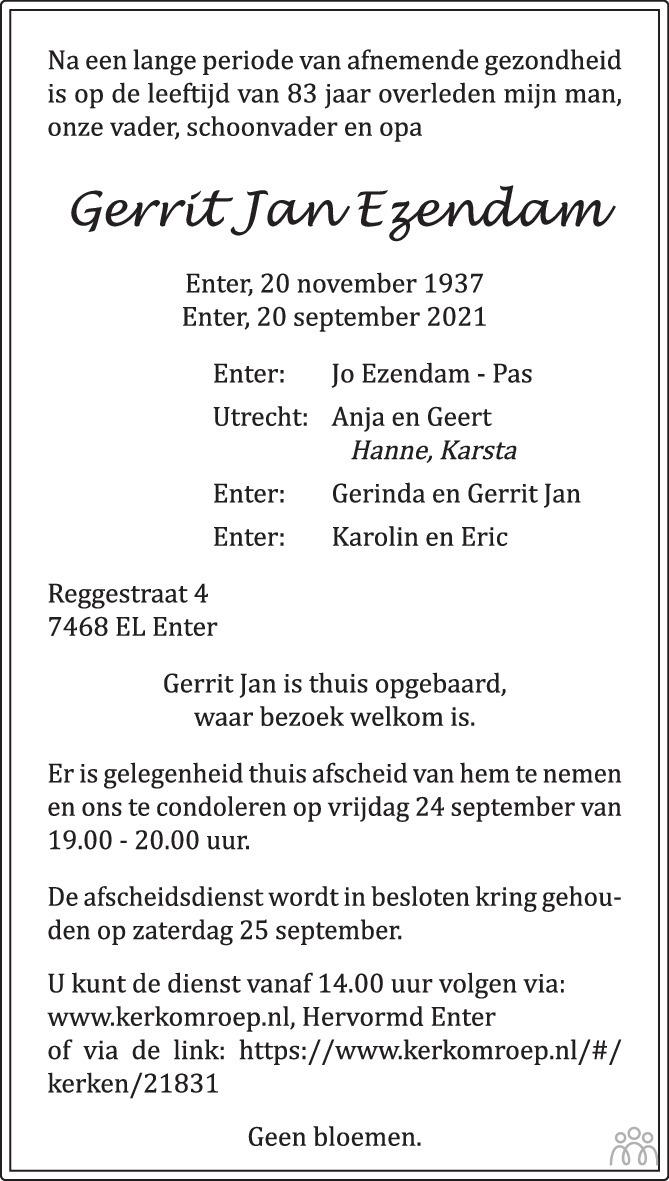 Overlijdensbericht van Gerrit Jan Ezendam in Tubantia