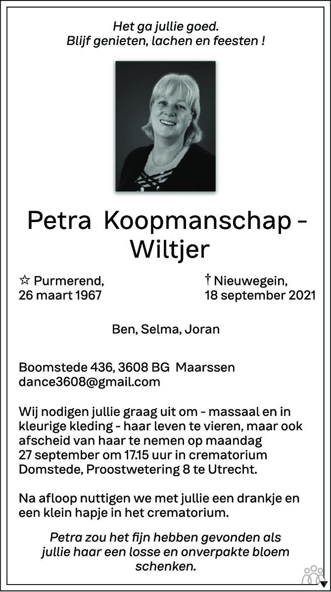 Overlijdensbericht van Petra Koopmanschap-Wiltjer in AD Algemeen Dagblad
