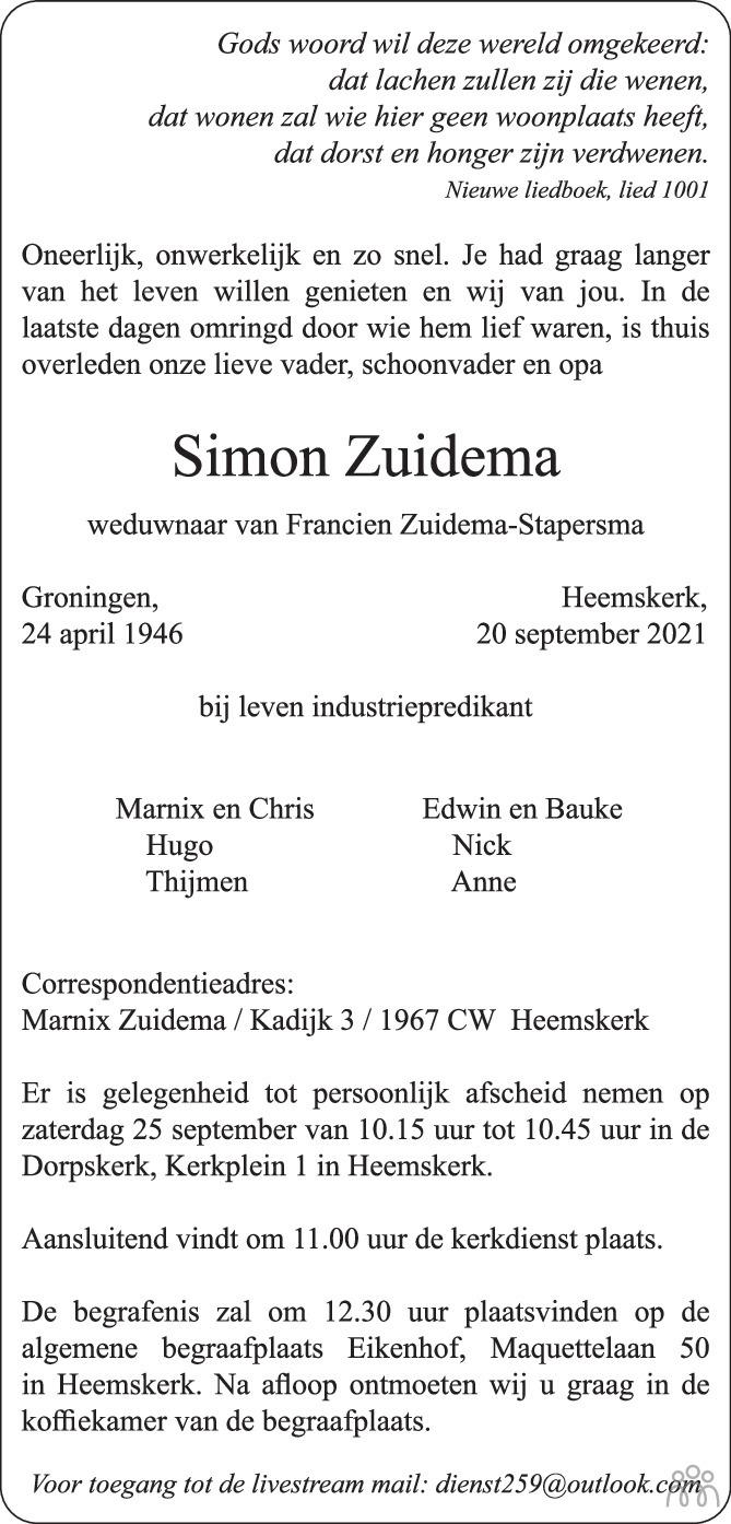 Overlijdensbericht van Simon Zuidema in Trouw